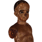Rare Large Antique c1790's Italian Polychromed Wood Child Mannequin