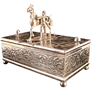 HOLIDAY SALE! Important Antique Figural Silver Humidor or Tobacco Casket