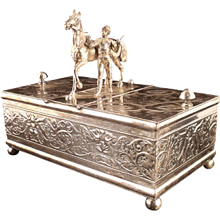 Important Antique Figural Silver Humidor or Tobacco Casket