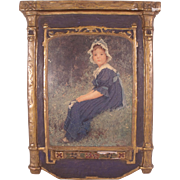 "Antique c1900 Dura Craft Gesso Art Panel ""Young Girl in Blue Bonnet"" - Red Tag Sale Item"