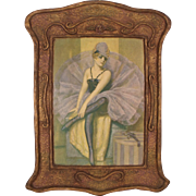 "Antique c1910 Art Nouveau Gesso Art Panel ""The Ballerina"""