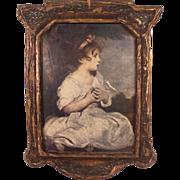 """Antique c1910 Art Nouveau Gesso Art Panel """"Young Girl"""""""