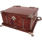Important LARGE Burled Wood Chest with Sterling Mounts by Alphonse Giroux