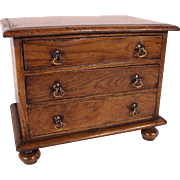 Charming 19th Century Miniature Oak Chest - Salesman's Sample