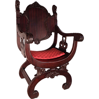 Antique Victorian Carved Gothic  Revival  Throne Armchair c1850
