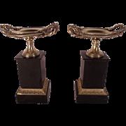 Pair of Antique 19th Century Bronze Tazzas or Garnitures