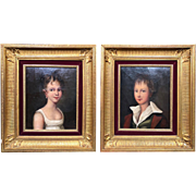 Exceptional  Pair of 19th Century Fine  French Naïve Folk Art Child Portraits