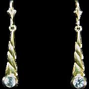 Stunning Antique Late Victorian 8k Gold Blue Topaz Earrings