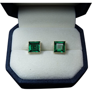 Magnificent Very Fine 3 cttw AAA Colombian Emerald Stud Earrings