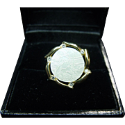 Fine Vintage 14K Gold, Mother of Pearl & Diamond Tie Tack