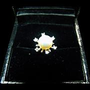 Fine Vintage 14K White Gold Snow Flake Pearl & Diamond Tie Tack
