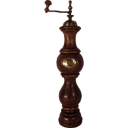 Huge Museum Quality 1860's English Wood & Brass Pepper Grinder