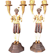 Lovely  19th Century Pair of Painted Bronze Blackamoor Candle Stands