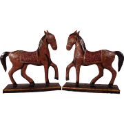 Lovely Pair of Vintage Hand Painted Tin Horse Sculptures