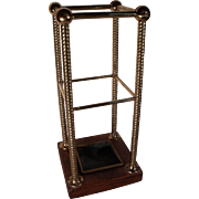 Exceptional Circa 1870 English Brass & Wood Umbrella Stand