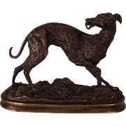 Fantastic 19th Century  French Bronze Whippet Animalier Dog Sculpture by Y. Mongmiey