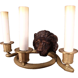 Very Fine pair of 19th Century French Dore Bronze Lion with Serpent Sconces