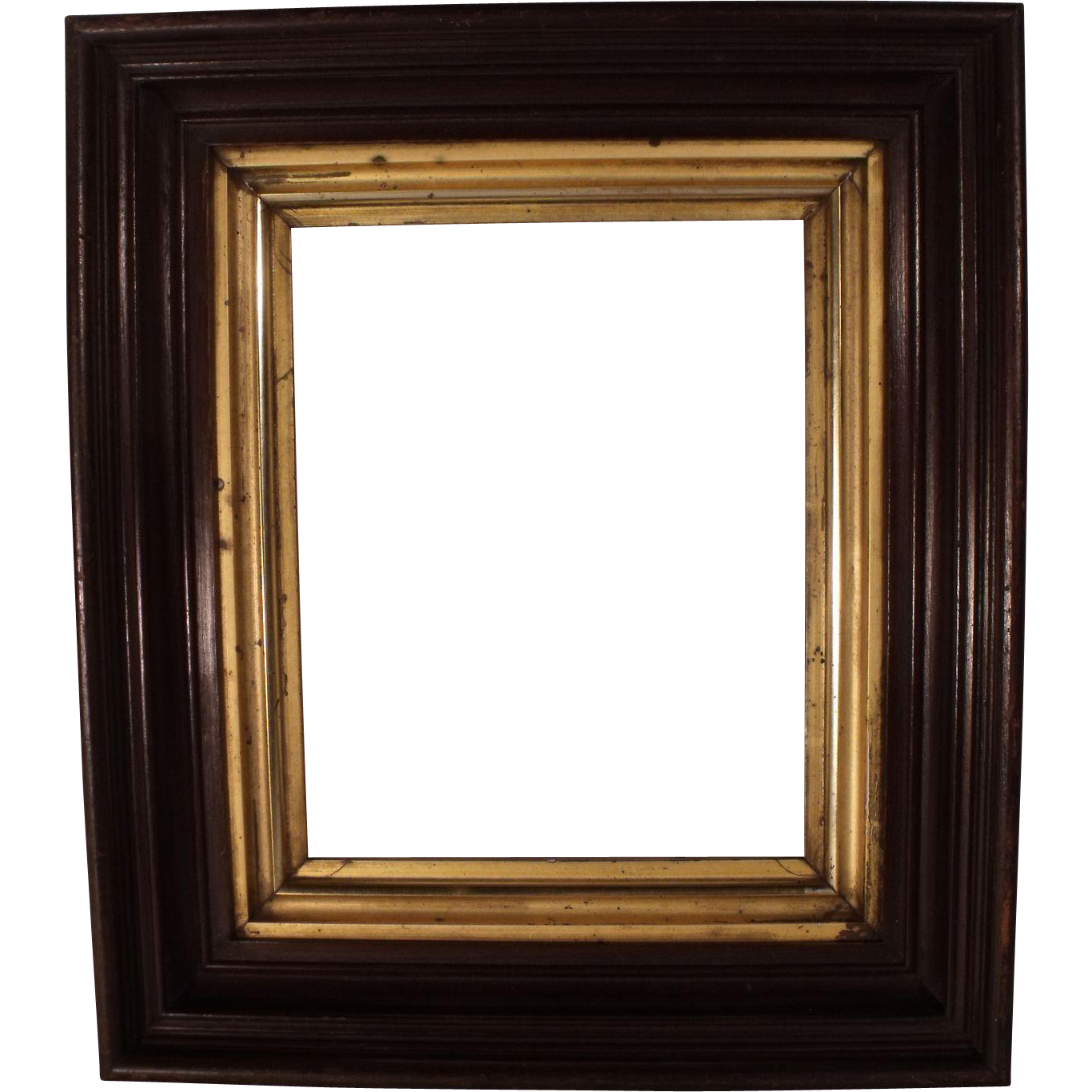 Antique Victorian Deep Shadow Box Picture Frame With Gold