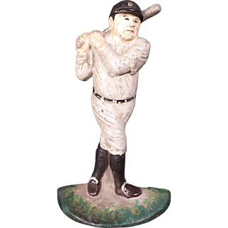 Vintage 1920's Babe Ruth Cast Iron Door Stop