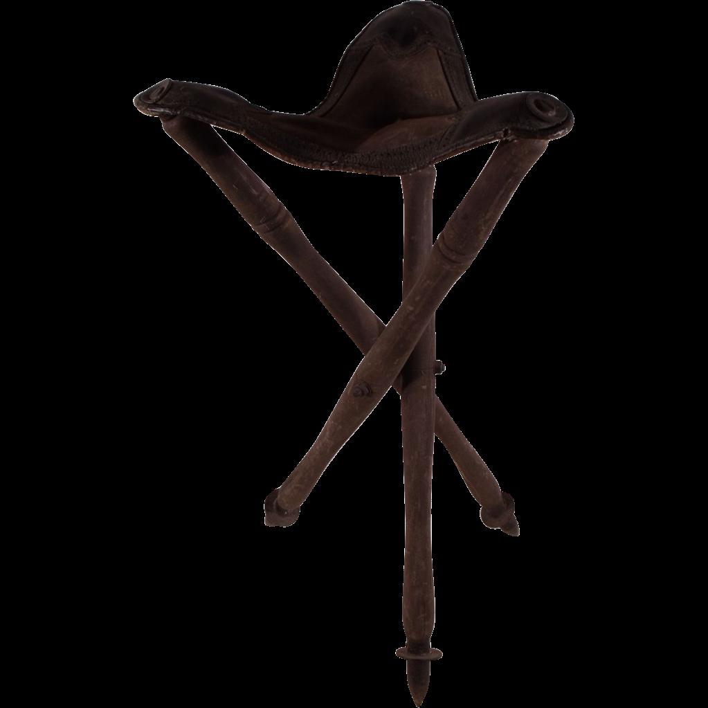 Wonderful Antique Three Legged Folding Stool With Leather