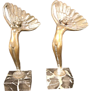 Lovely Pair of Art Deco Bronze Hummelwerk Statues on Marble Plinth
