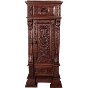 Fantastic Carved Tall French Gothic Parlor Cabinet c1810