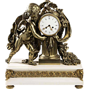 Very Rare Monumental c1886 Tiffany & Co. French Gilt Bronze & Marble Table Clock