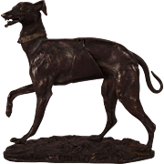 Very Rare c1870 French Alphonse Giroux Bronze Dog Sculpture