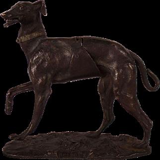 Wonderful Very Rare c1870 French Giroux Bronze Dog Paperweight