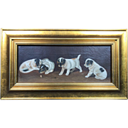 Charming Antique 19th Century Puppy Oil Painting