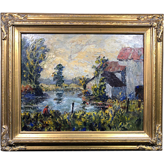 "Museum Quality Ernest Lawson (1873-1939) ""The Fishing Hole"" Original Oil Painting"