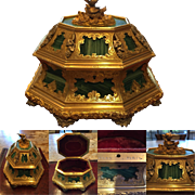 Important Antique Tahan Paris Malachite, Silver and Gilt Bronze Box