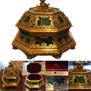 Important Museum Quality Antique Tahan Paris Malachite, Silver and Gilt Bronze Box