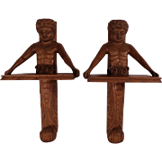Wonderful Pair of Large Antique Oak Wall Brackets or Shelves.