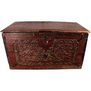 Patrick Swayze Owned Antique Carved Front Wood Chest, PROVENANCE