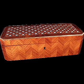 Beautiful Antique Tahan Paris Inlaid Marquetry Dresser Box
