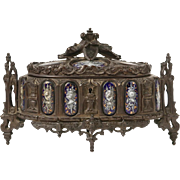Museum Quality Antique Bronze French Tahan Jewelry Box with Porcelain Panels.