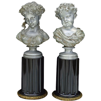 Stunning Antique Pair of 19th Century Maiden and Child Bust Sculptures by Auguste Moreau