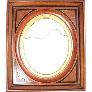 Beautiful Antique Victorian Shadow Box Frame with Oval Carved inset Panel