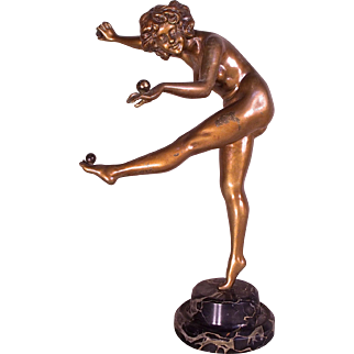 "Anna Nicole Smith Owned Art Deco Bronze ""The Juggler"" by CJR Colinet c1925"