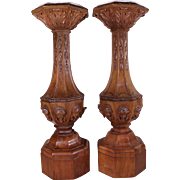 Important Pair of Antique c1825 American Directorie Style Walnut Plinths