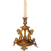 Outstanding Antique c1810 GIROUX Gilt Bronze Champleve Candle Stand