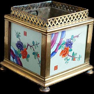 Gorgeous Antique c1860 TAHAN Bronze Jardinere with Porcelain Panels