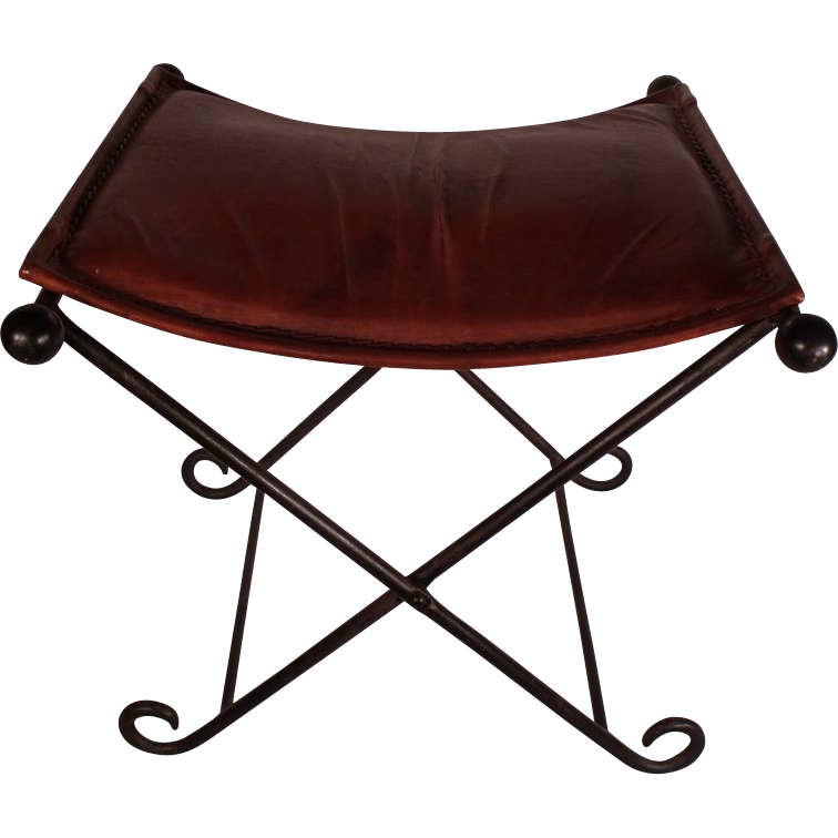 Pair Of Vintage Iron Folding Stools With Leather Seats