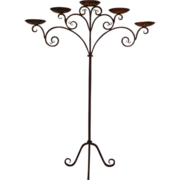 Fantastic Antique Gothic Wrought Iron Five candle stand, circa 1900