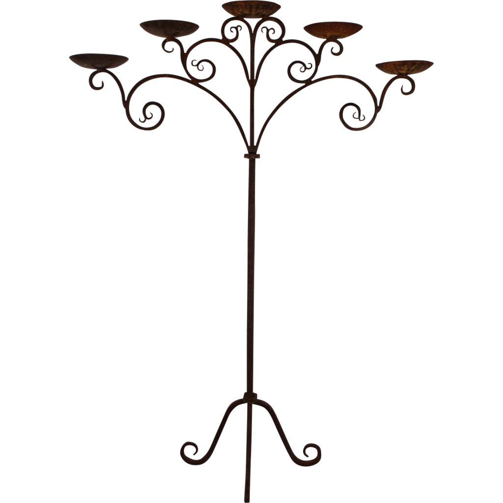 Iron Candle Stand Designs : Fantastic antique gothic wrought iron five candle stand