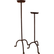 Pair of Antique Gothic Wrought Iron Single Candle Stands, circa 1900