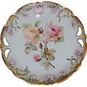 Antique PK Silesia Hand Painted Fine Porcelain ~ Handled Bowl/Deep Plate ~ Gorgeous Roses and Gold Highlights ~ ca. 1886-1914