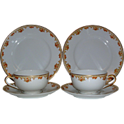 L. Bernardaud & Co. (B&Co.) Limoges France ~ Matching Teacups, Saucers and Luncheon/Desert Plates ~ 6 piece set ~ (c.1900-1978)