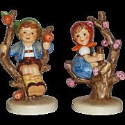 """Vintage M.I. Hummel """"Apple Tree Boy"""" and """"Apple Tree Girl"""" Figurines ~ HUM142/3/0 ~ HUM141/3/0 ~ TMK8 ~ Current Retail Total $358"""